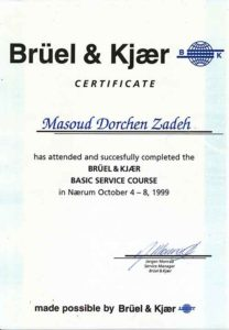 گواهینامه های خدمات پردیس صنعت - B & K Vibro